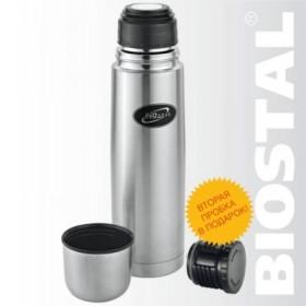 Термос Биосталь классический с узкой горловиной, для напитков. 2 пробки, 500 мл (NB-500)