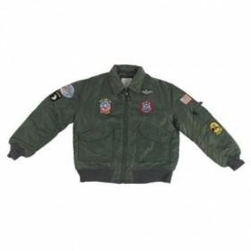 Детская куртка с нашивками PILOT CWU, oliv