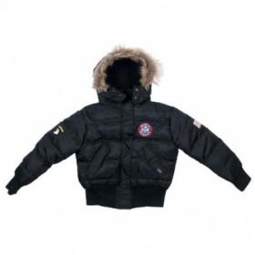 """Куртка зимняя детская, """"Aviator"""" США черного цвета, воротник с мехом"""