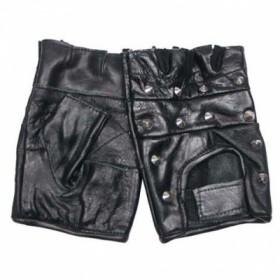 Кожаные перчатки без пальцев с металлическими декоративными клепками